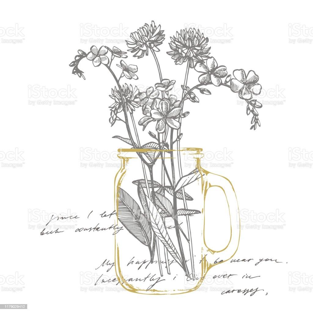 野生植物の枝忘れクローバーヴィンテージ刻印イラスト手描きの花とハーブの花束植物のイラスト手書きの抽象テキスト イラストレーションのベクターアート素材や画像を多数ご用意 Istock