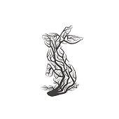 Branch Rabbit. Vector Illustration