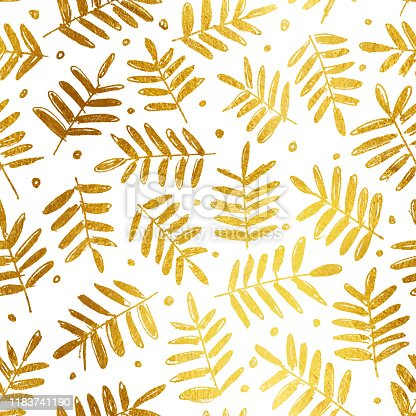 Single little twigs with tiny leaves. Spontaneous hand drawn illustration in gold shades isolated on white paper background. Seamless pattern design. Great material of cards or textile pattern. Zoom to see the details. Vector illustration - enlarge or duplicate picture vertically and horizontally to get unlimited area!