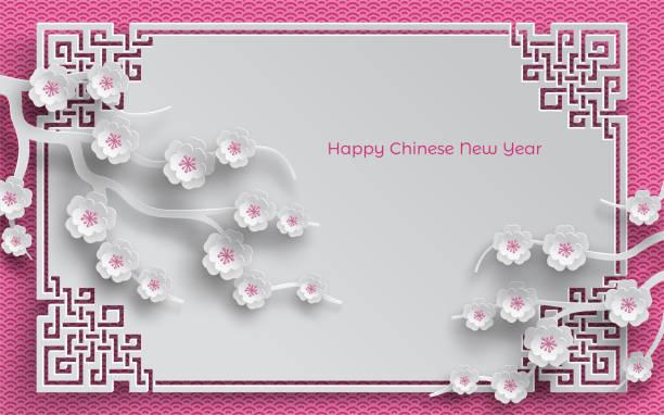 ilustrações, clipart, desenhos animados e ícones de ramos de flores de cerejeira, quadro oriental na rosa de fundo para o ano novo chinês saudação cartão, papel cortado fora de estilo. vector, legenda ano novo chinês - bandeira da coreia