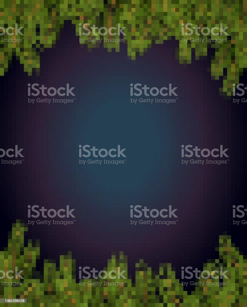 スプルースの枝は、ピクセル アートをフレームします。8 ビット クリスマスと新年のための背景 ベクターアートイラスト