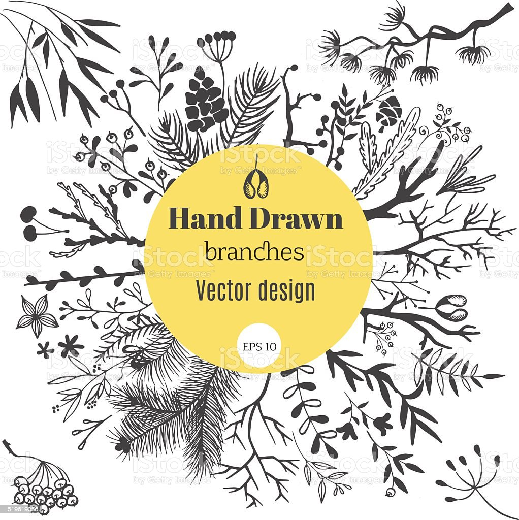 Branches vector art illustration