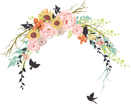 Branches With Birds And Flowers