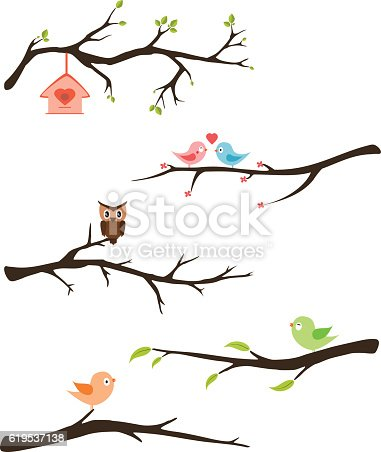 Branches with birds vector for invitation, cards, party kids...
