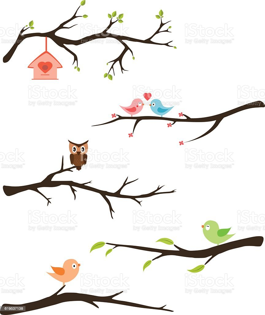 Branches with birds vector vector art illustration