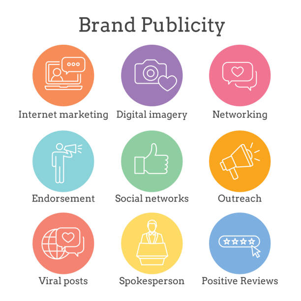Brand Ambassador and Spokesperson Icon Set w Networking, Social, and bullhorn images vector art illustration