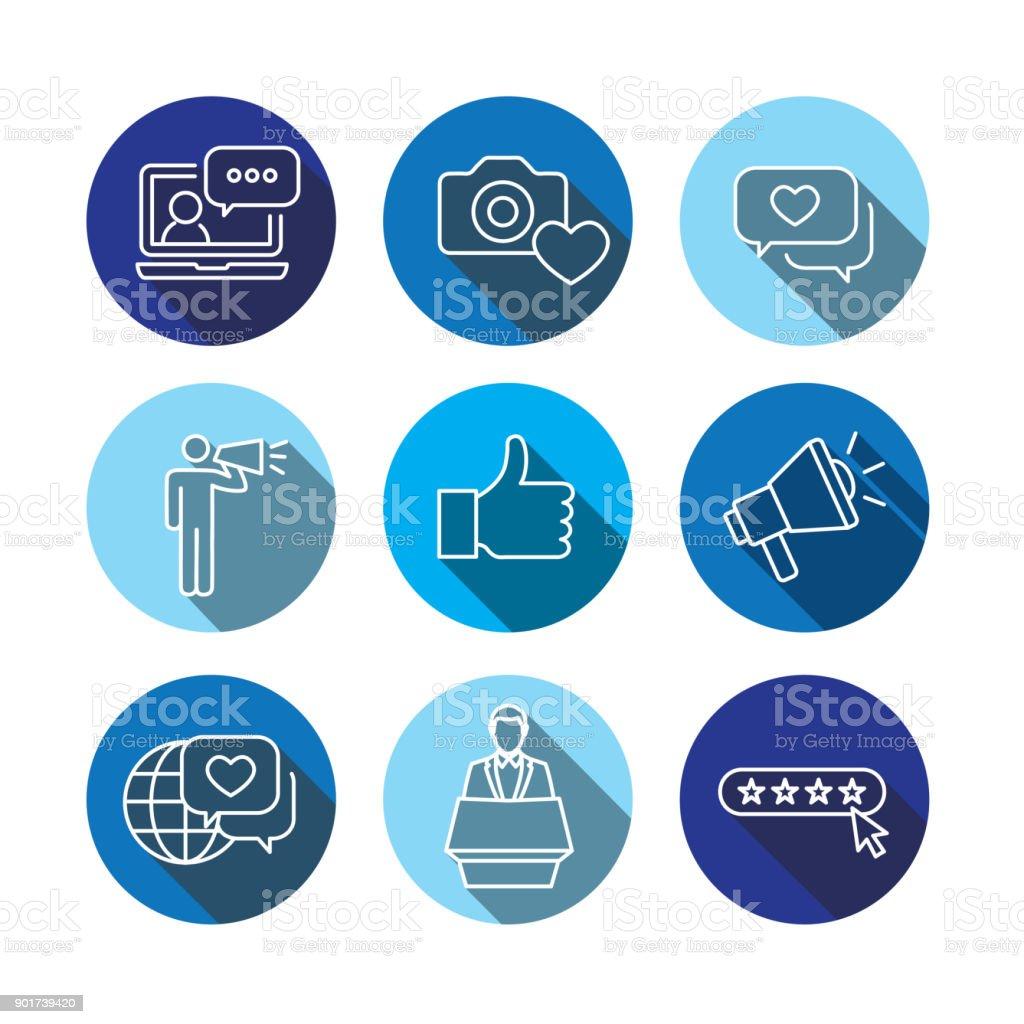 Brand Ambassador Thin Line Outline Icon Set with Megaphone, Influencer Marketing Person & Representative vector art illustration