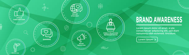 Brand Ambassador Thin Line Outline Icon Web Banner Set - Megaphone, Influencer Marketing Person and Representative vector art illustration