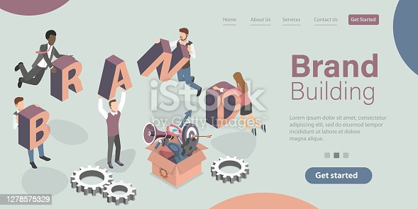 Brand Building, Company Personality Development. 3D Isometric Flat Vector Conceptual Illustration.