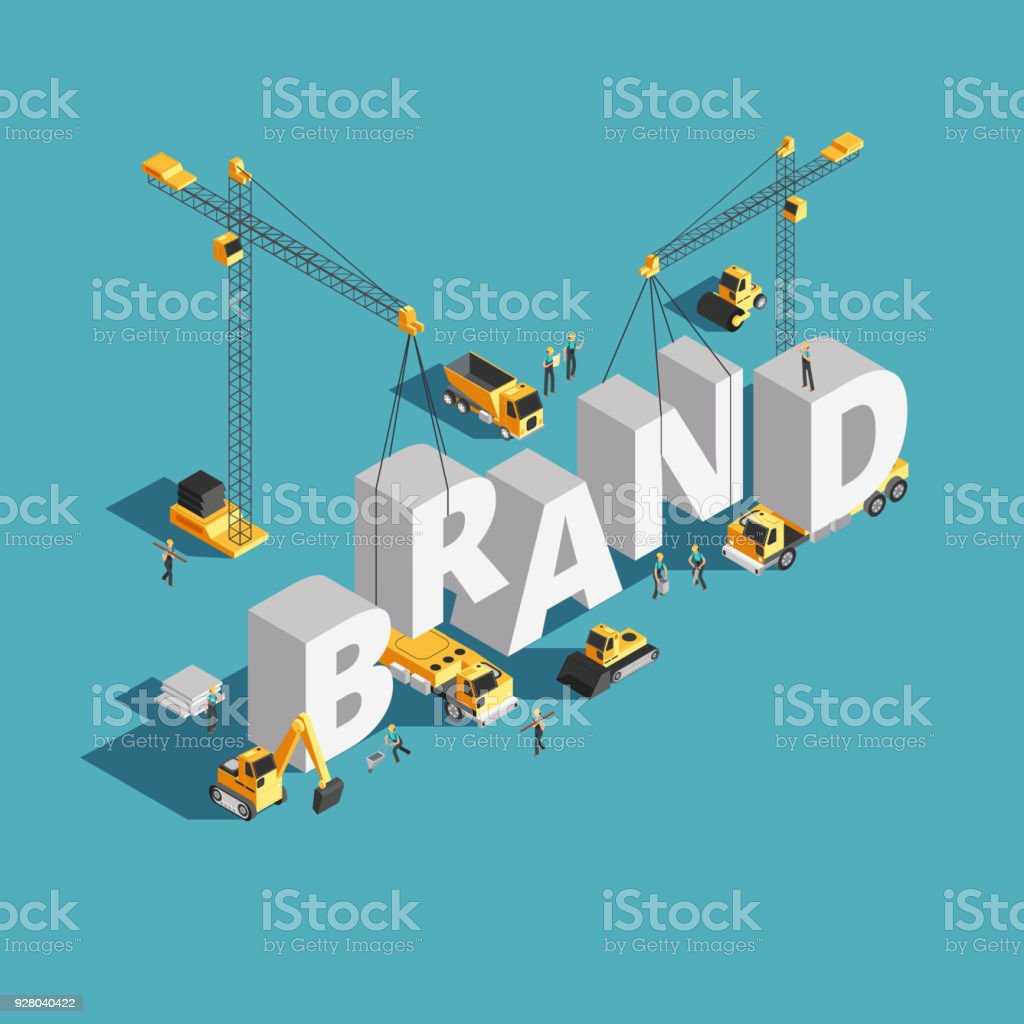 Brand building construction 3d isometric vector concept with construction machinery and workers vector art illustration