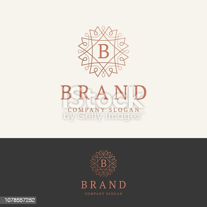 B brand emblem. Ornamental monogram template. Round linear emblem with letter B