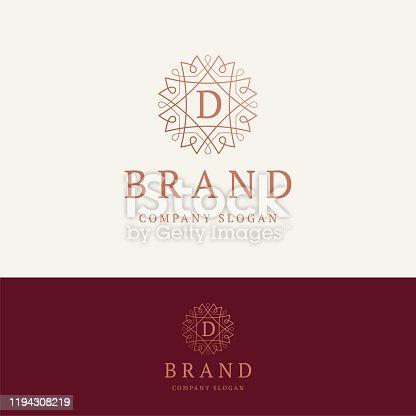 D brand emblem. Ornamental monogram template. Round linear emblem with letter D