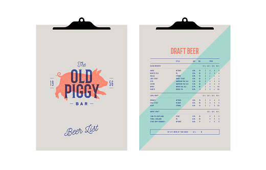 Brand identity set for Beer Bar, Pub. Clipboard menu