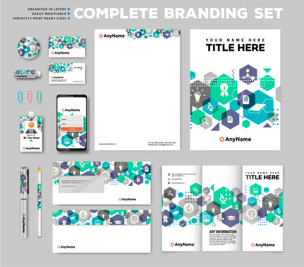 Brand identity set Corporate brand identity template set business cards and stationery stock illustrations