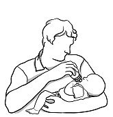 Young father feeding a bottle of formula to his newborn baby