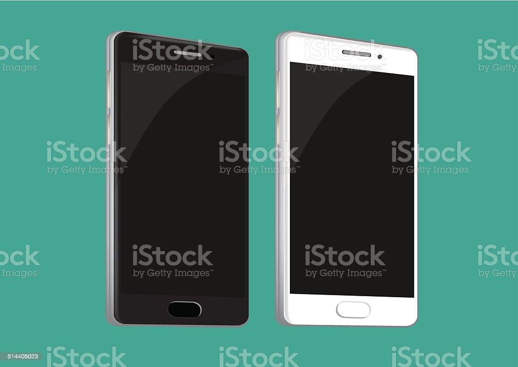 Brand New Mobile Phone in Black and White vector art illustration