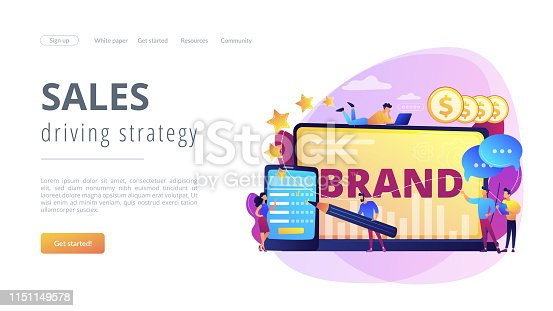 Promoting company credibility. Increasing clients loyalty. Customers conversion. Brand reputation, brand management, sales driving strategy concept. Website homepage landing web page template.