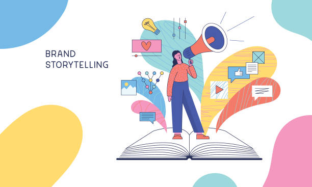 Brand storytelling Easily editable flat vector illustration on layers. storytelling stock illustrations