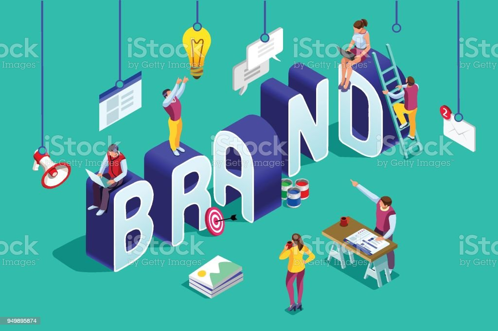 Brand vector text isometric logo vector art illustration
