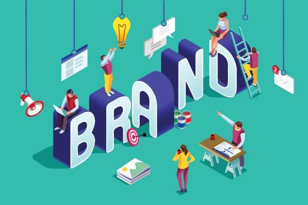 Brand vector text isometric logo vector art illustration