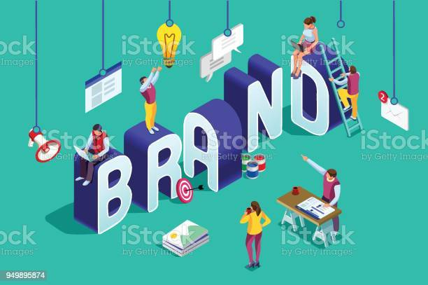 Brand Vector Text Isometric Logo Stock Illustration - Download Image Now
