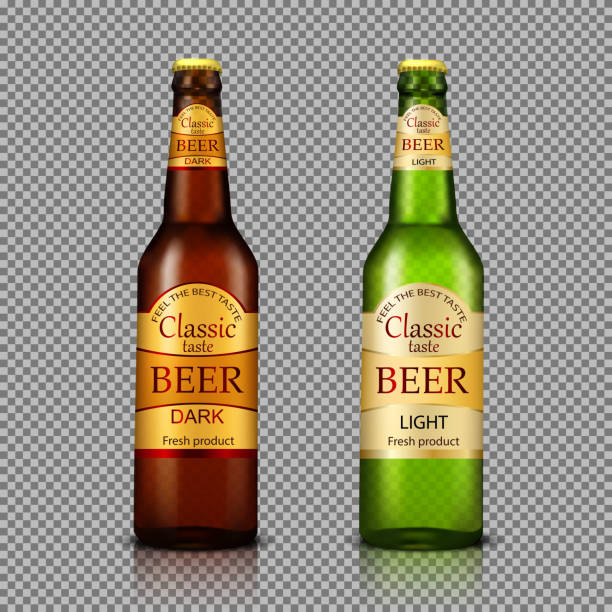 Branded bottles of beer realistic vector vector art illustration