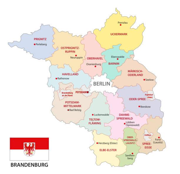 플래그, 독일 브란덴부르크 행정과 정치 지도 - 브란덴부르크 주 stock illustrations