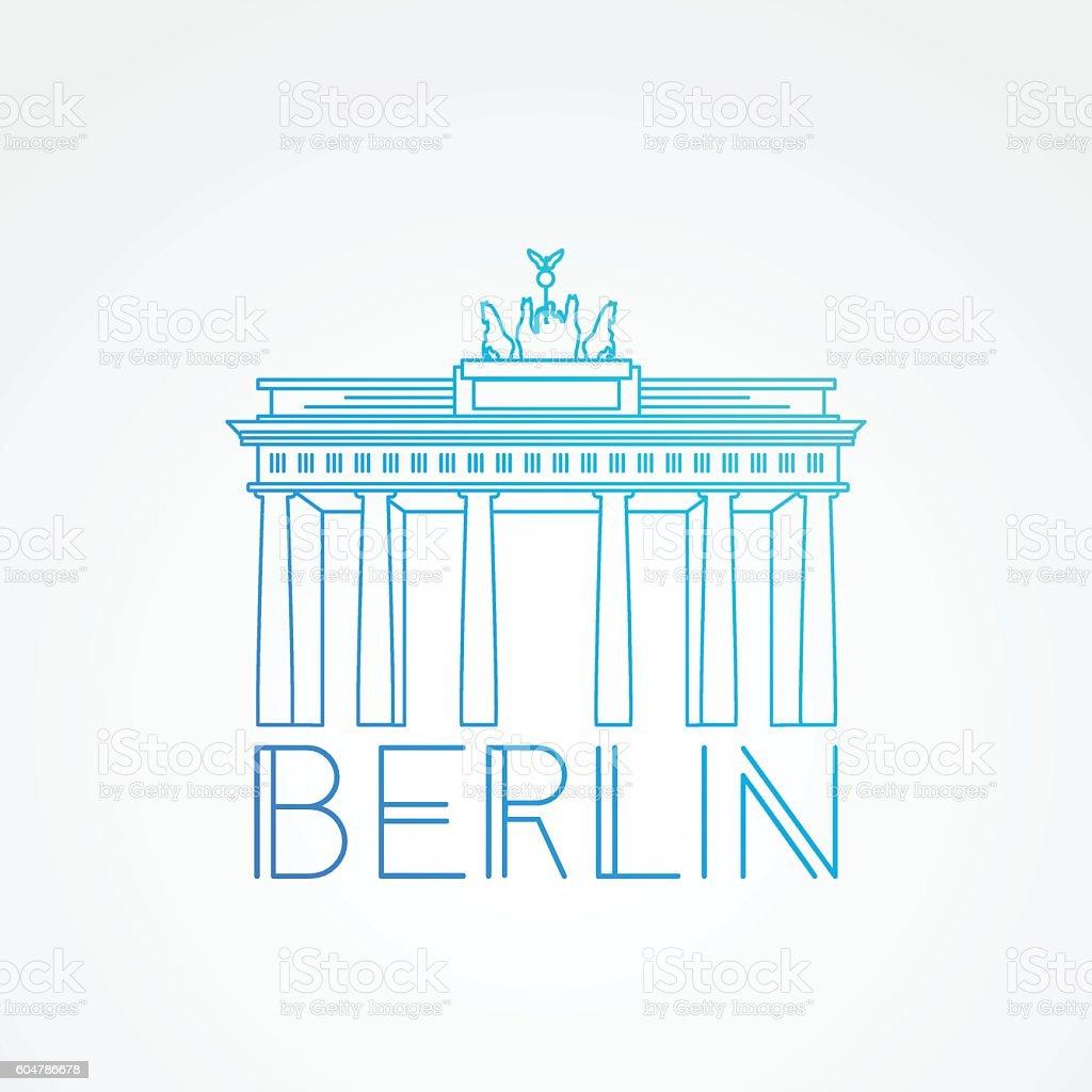 Brandenburg gate - Detailed linear icon. Berlin, Germany – Vektorgrafik