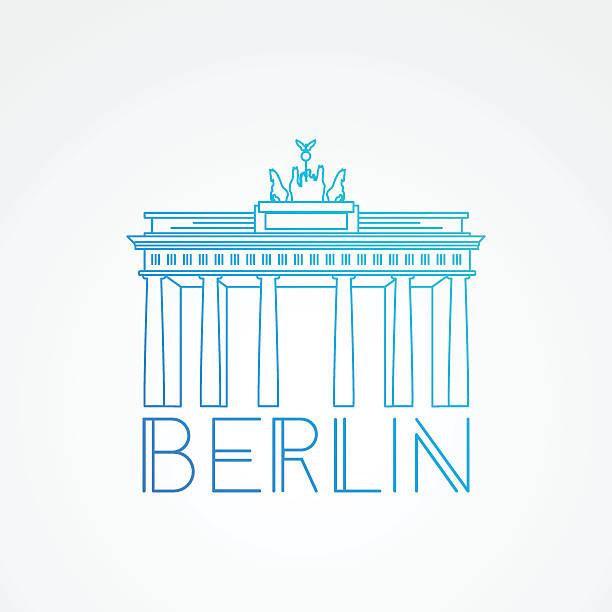 ilustrações de stock, clip art, desenhos animados e ícones de brandenburg gate - detailed linear icon. berlin, germany - berlin wall