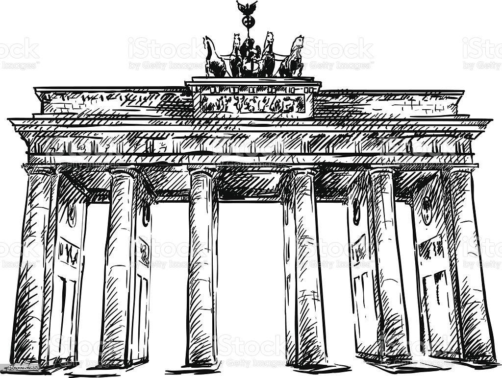Brandenburg Gate. hand drawn.  Vektor-Skizze. – Vektorgrafik