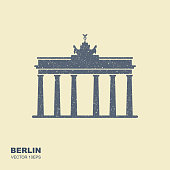 Brandenburg gate icon in Berlin . Vector icon in flat style with scuffed effect