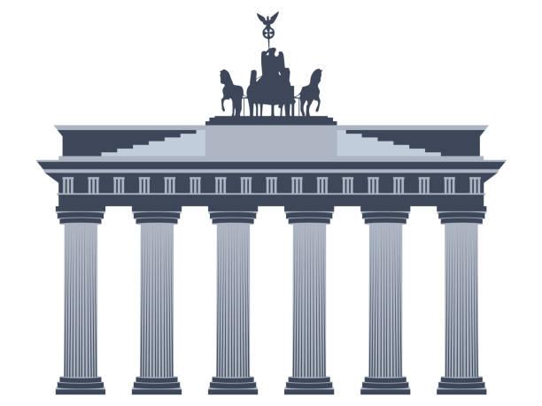 ilustrações de stock, clip art, desenhos animados e ícones de brandenburg gate in berlin. isolated on white background. - berlin wall