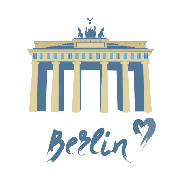 ilustrações de stock, clip art, desenhos animados e ícones de brandenburg gate isolated on white background. - berlin wall