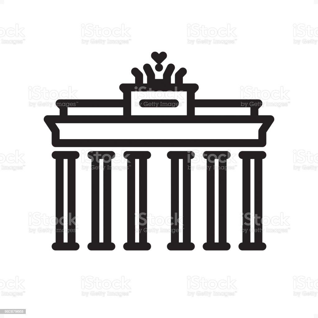 Brandenburg Gate Outline Icon Pixel Perfect Stock