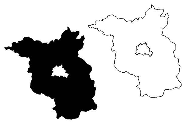 브란덴부르크 지도 벡터 - 브란덴부르크 주 stock illustrations