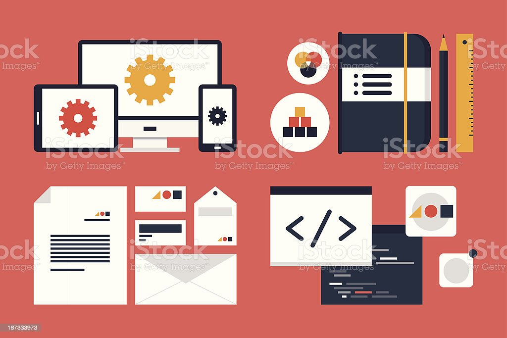 Branding and application design elements vector art illustration