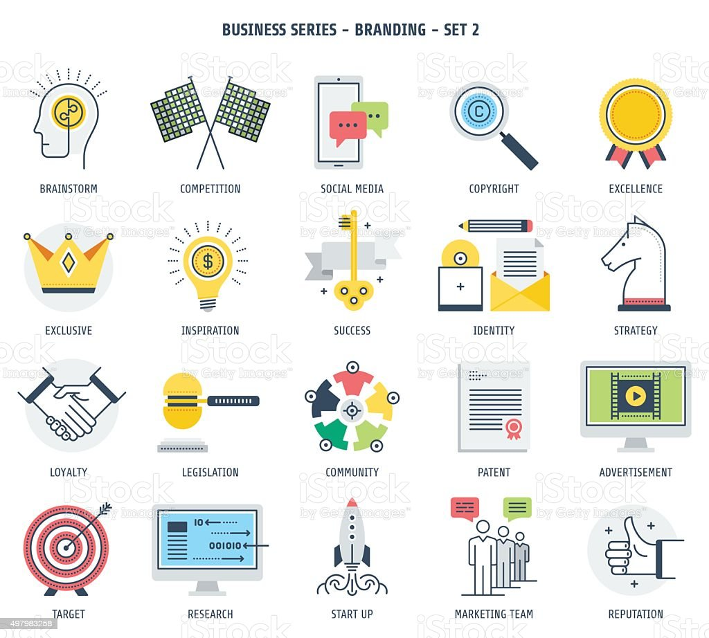 Branding and Entrepreneurship Icon Set vector art illustration