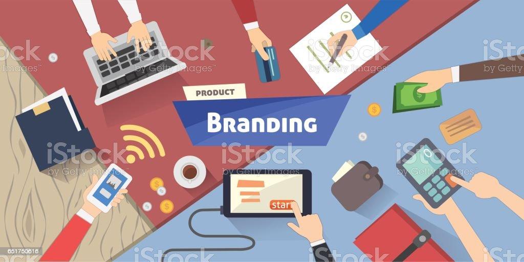 ブランド コンセプト、創造的なアイデアは、デスクトップ上のデジタル マーケティング ベクトル イラスト ベクターアートイラスト