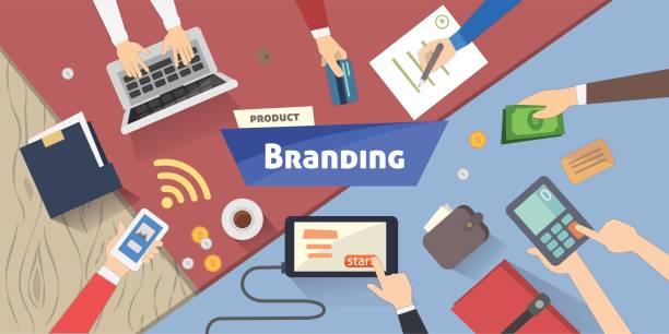 ブランド コンセプト、創造的なアイデアは、デスクトップ上のデジタル マーケティング ベクトル イラスト - 旅行代理店点のイラスト素材/クリップアート素材/マンガ素材/アイコン素材
