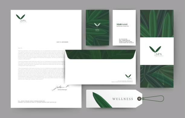 074 - branding green leaf - stationery templates stock illustrations