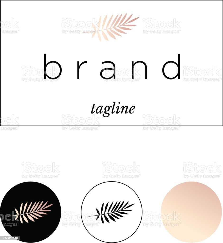 Branding,, identity for product or company. Exotic leaf in black and rose gold colors vector art illustration