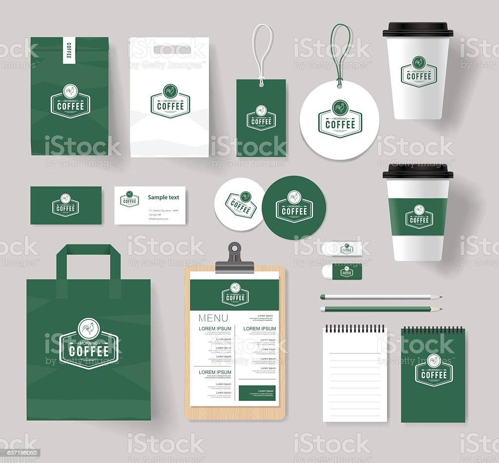 branding identity mock up template for coffee shop and restaurant vector art illustration