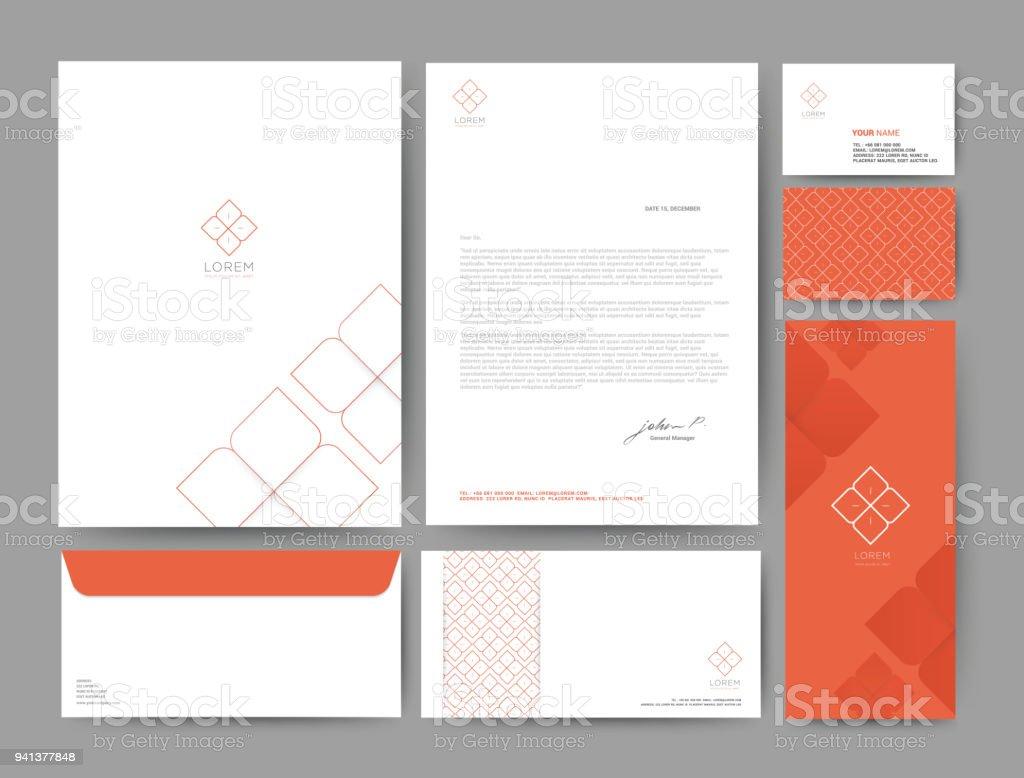 Branding identity template corporate company design orange color, Set for business hotel, resort, spa, luxury premium logo, vector illustration vector art illustration