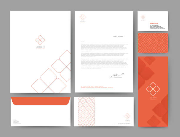 branding identity template corporate company design orange color, set for business hotel, resort, spa, luxury premium logo, vector illustration - business cards templates stock illustrations