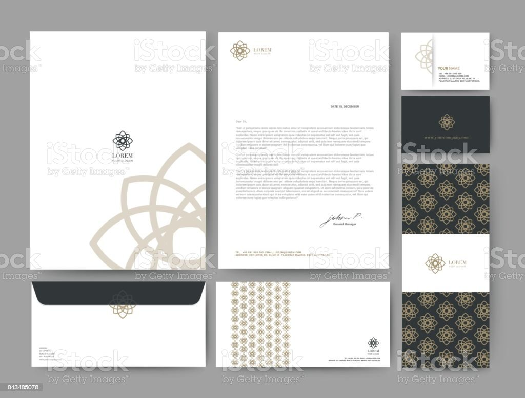 Branding identity template corporate company design, Set for business hotel, resort, spa, luxury premium logo, vector illustration - Royalty-free Abstract stock vector