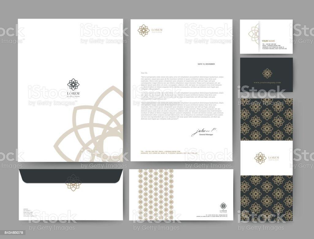 Marca de identidade modelo corporativo da empresa de design, conjunto para hotel de negócios, resort, spa, logotipo premium de luxo, ilustração vetorial - ilustração de arte em vetor