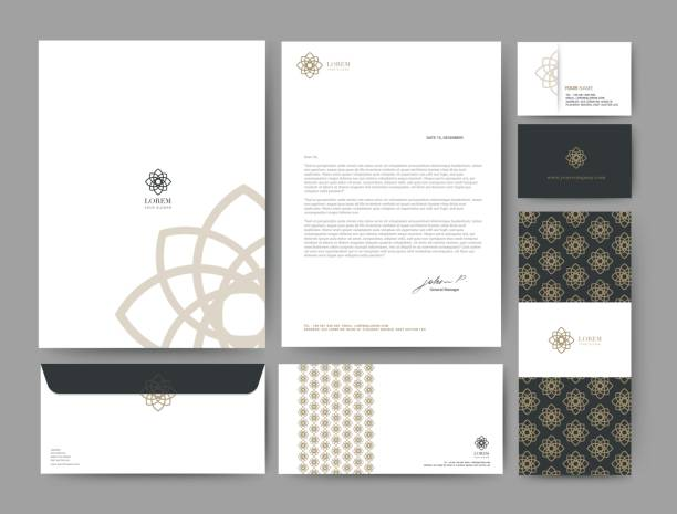 branding identity template corporate company design, set for business hotel, resort, spa, luxury premium logo, vector illustration - business cards templates stock illustrations