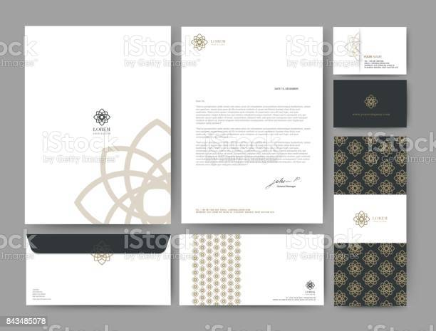 Branding Identity Template Corporate Company Design Set For Business Hotel Resort Spa Luxury Premium Logo Vector Illustration Stock Illustration - Download Image Now