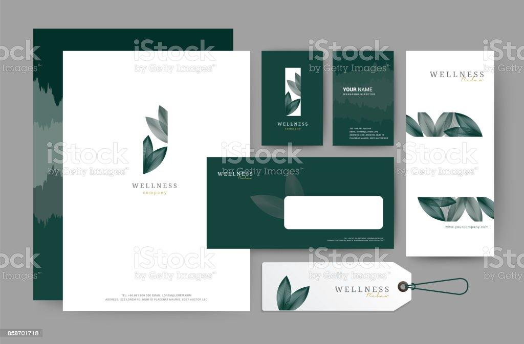 Branding diseño plantilla corporativa de la empresa, sistema para hotel de negocios, resort, spa, premium luxury, ilustración vectorial - ilustración de arte vectorial