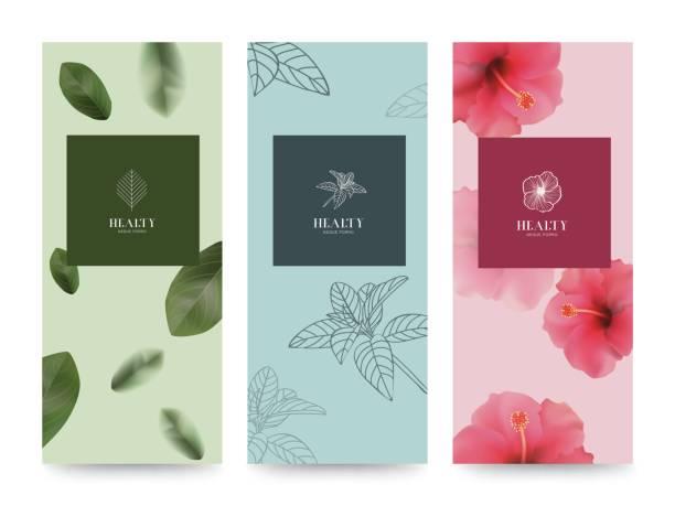 bildbanksillustrationer, clip art samt tecknat material och ikoner med branding packageing flower natur bakgrund, banner verifikationen, vår sommar tropiska, vektorillustration - spa